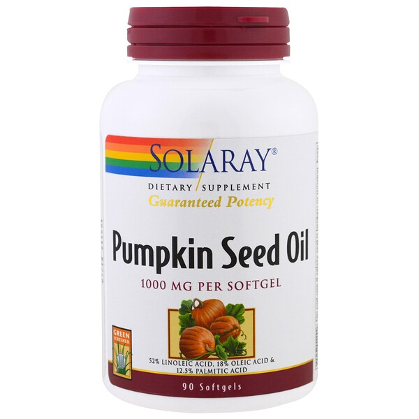 Solaray, Pumpkin Seed Oil, 1,000 mg, 90 Softgels