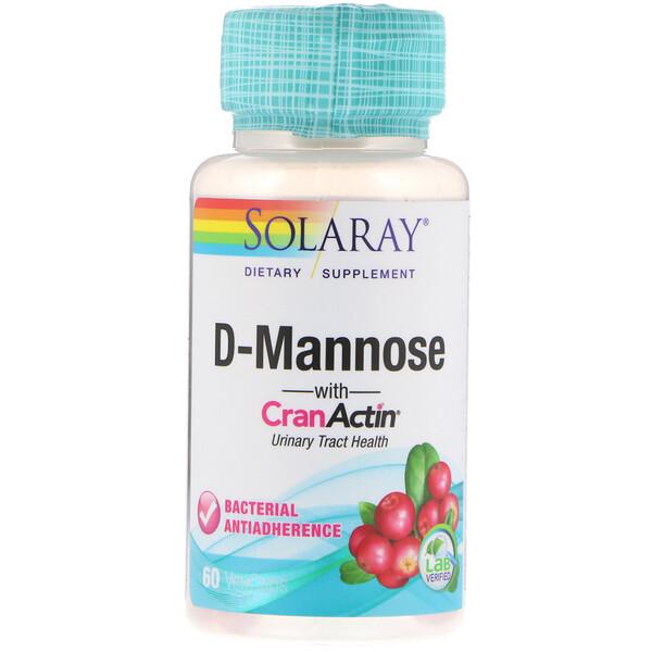 D-манноза с CranActin, для здоровья мочевыводящих путей, 60 капсул