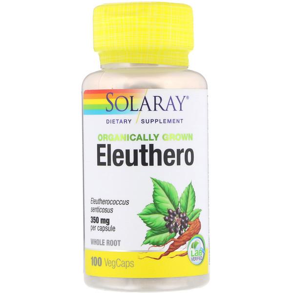 Solaray, Органически выращенный элеутерококк, 350 мг, 100 капсул с оболочкой из ингредиентов растительного происхождения