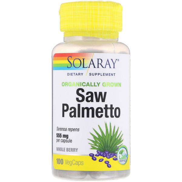 Органически выращенная сереноя, 555 мг, 100 капсул с оболочкой из ингредиентов растительного происхождения