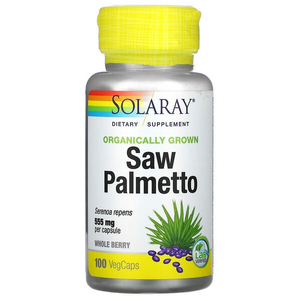 Solaray, Органически выращенная сереноя, 555 мг, 100 капсул с оболочкой из ингредиентов растительного происхождения