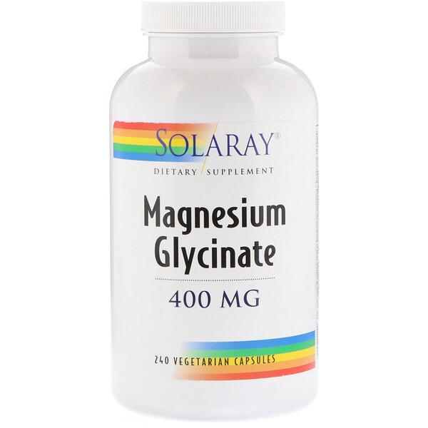 Solaray, Глицинат магния, 400 мг, 240 вегетарианских капсул