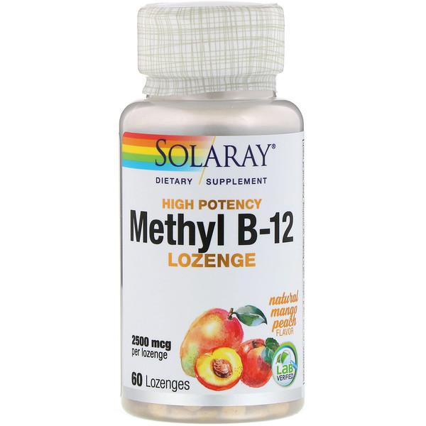 High Potency Methyl B-12, Natural Mango Peach, 2,500 mcg, 60 Lozenges