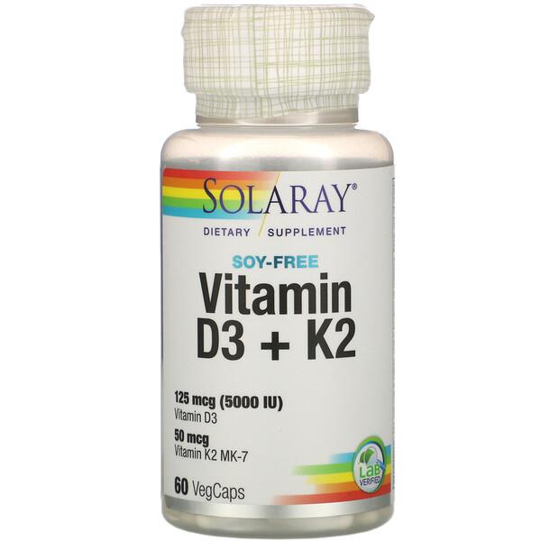 Solaray, витаминыD3 и K2, без сои, 125мкг (5000МЕ), 60растительных капсул