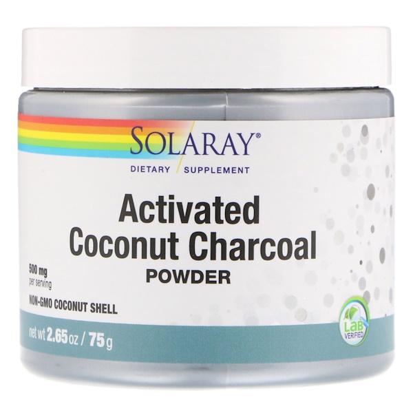 Solaray, Активированный уголь с кокосом в порошке, 2,65 унц. (75 г)