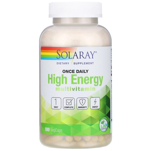 Solaray, Once Daily High Energy, мультивитаминный комплекс, 180растительныхкапсул
