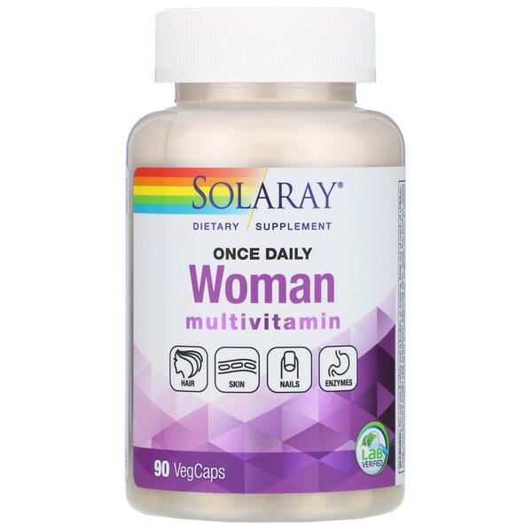 Женские мультивитамины, один раз в день, 90растительных капсул