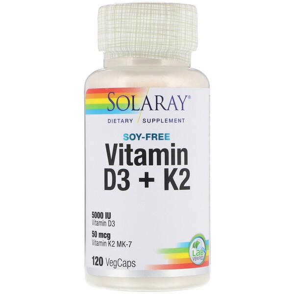 Solaray, Витамины D-3 + K-2 без сои, 120 капсул с оболочкой из ингредиентов растительного происхождения
