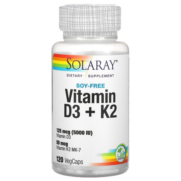 Solaray, витаминыD3 и K2, без сои, 125мкг (5000МЕ), 120растительных капсул