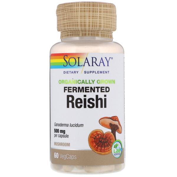 Solaray, Ферментированный рейши органического происхождения, 500 мг, 60 капсул с оболочкой из ингредиентов растительного происхождения (Discontinued Item)