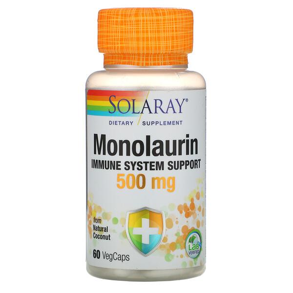 Solaray, Монолаурин, 500мг, 60вегетарианских капсул
