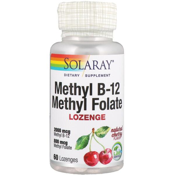 Solaray, Метилфолат метил B-12 , натуральный вишневый вкус, 60 леденцов