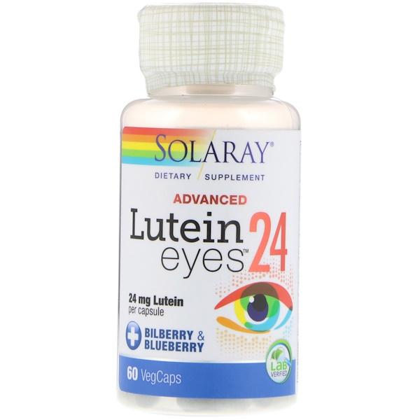 Solaray, Продвинутая формула, лютеин для глаз, 24 мг, 60 вегетарианских капсул