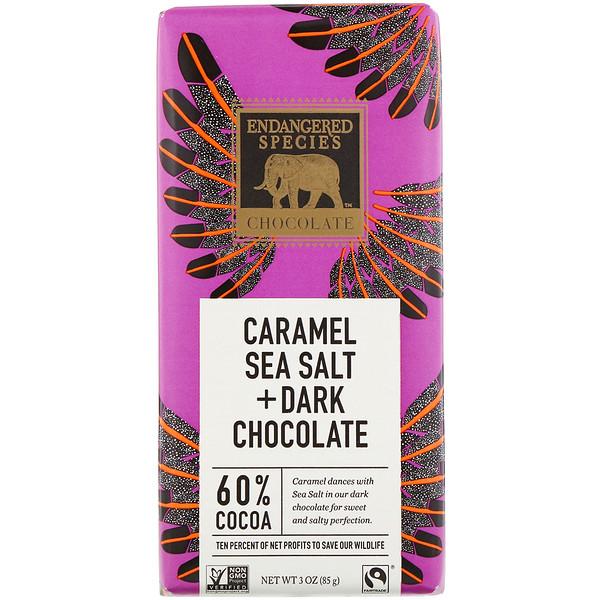 Endangered Species Chocolate, Caramel Sea Salt + Dark Chocolate, 60% Cocoa, 3 oz (85 g)
