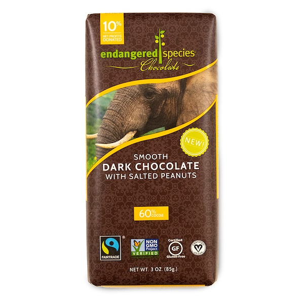 Endangered Species Chocolate, Smooth Dark Chocolate with Salted Peanuts, 3 oz (85 g) (Discontinued Item)