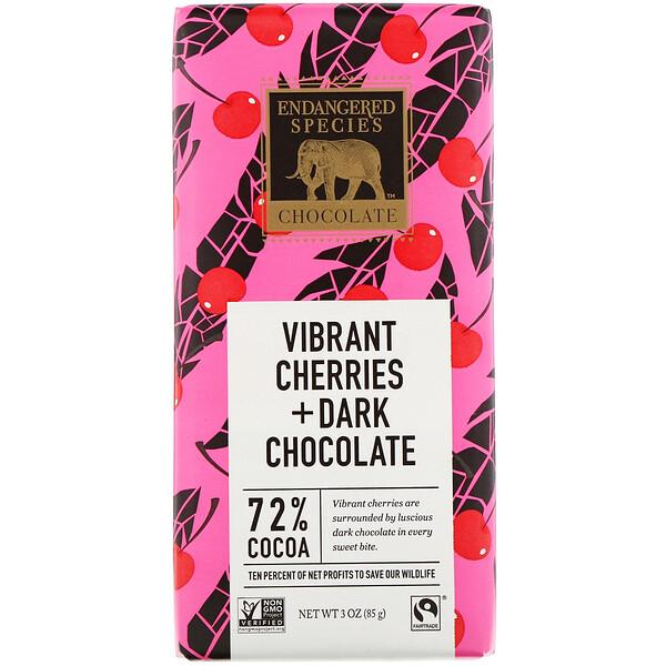 Endangered Species Chocolate, Vibrant Cherries + Dark Chocolate, 72% Cocoa, 3 oz (85 g)