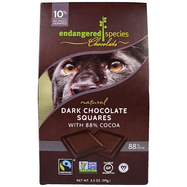 Endangered Species Chocolate, Натуральный черный шоколад в плитках, 10 шт, 3,5 унции (99 г) (Discontinued Item)