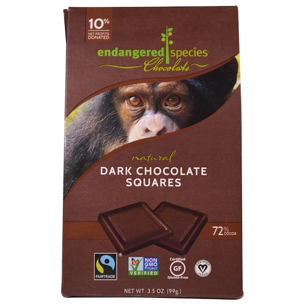 Endangered Species Chocolate, Квадратики из натурального темного шоколада, 3,5 унции (99 г) (Discontinued Item)