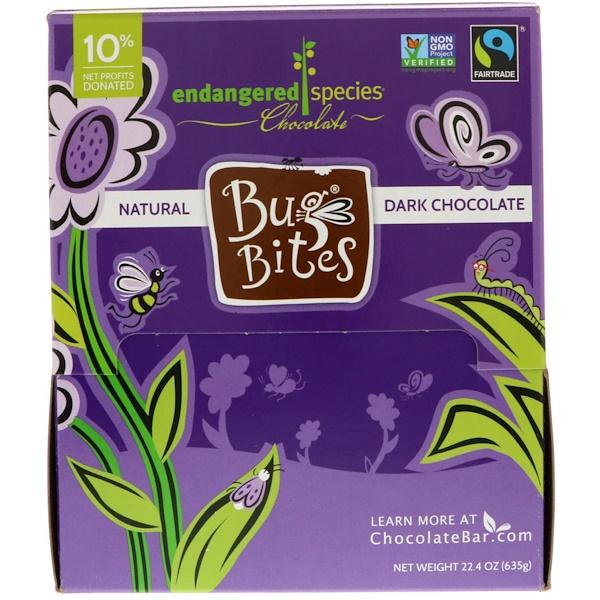 Endangered Species Chocolate, Bug Bites, натуральный темный шоколад, 22.4 унц  (635 г) (Discontinued Item)
