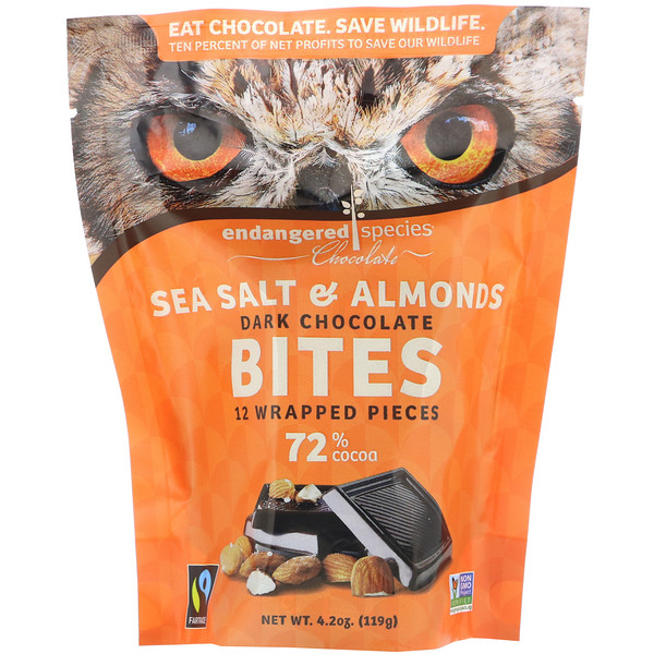 Endangered Species Chocolate, Dark Chocolate Bites, Sea Salt & Almonds, 72% Cocoa, 12 Wrapped Pieces, 4.2 oz (119 g)