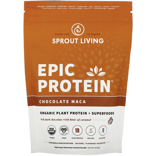 Epic Protein, Organic Plant Protein + Superfoods, Chocolate Maca, 1 lb (455 g)