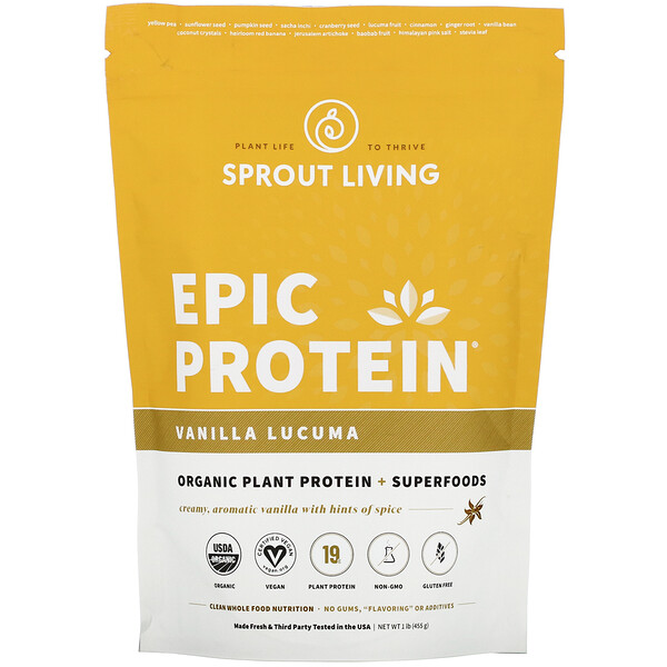 Sprout Living, Epic Protein, ваниль и лукума, 455 г (1 фунт)
