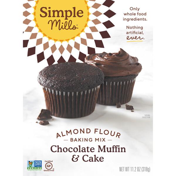 Simple Mills, Натуральная смесь миндальной муки без глютена, шоколадный кекс и торт, 10,4 унции (295 г)