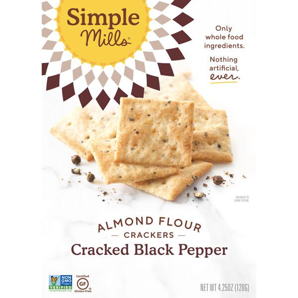 Simple Mills, Натуральные крекеры из миндальной муки без глютена, с молотым черным перцем, 120 г (4,25 унции)