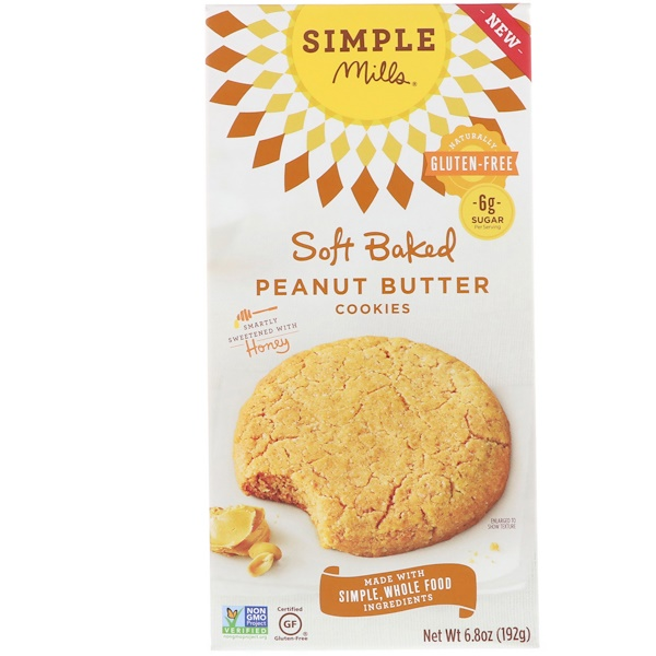 Simple Mills, Naturally Gluten-Free, Soft Baked Cookies, Peanut Butter, 6.8 oz (192 g) (Discontinued Item)