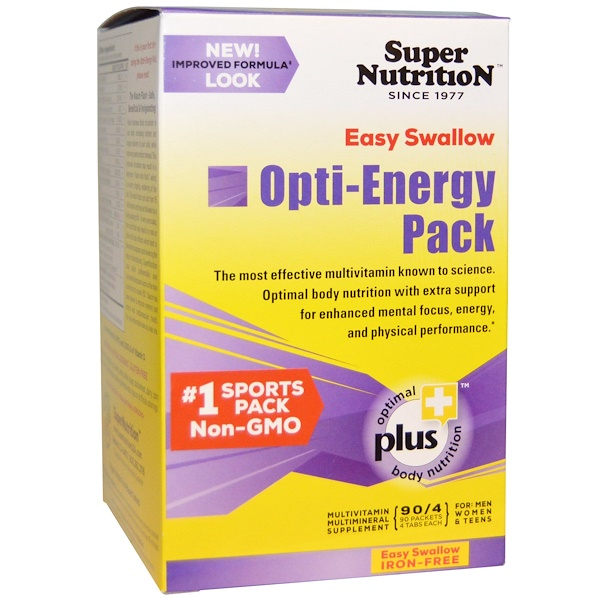 Super Nutrition, Opti-Energy Pack, мультивитаминная/мультиминеральная добавка, без железа, 90 пакетиков (по 4 таблетки в каждом)