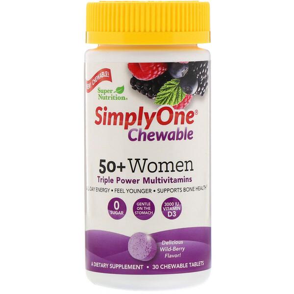 Super Nutrition, SimplyOne, жевательная мультивитаминная добавка тройного действия для женщин старше 50лет, вкус лесных ягод, 30жевательных таблеток (Discontinued Item)