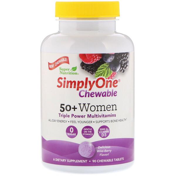 SimplyOne, мультивитаминная добавка тройного действия для женщин старше 50лет, вкус лесных ягод, 90жевательных таблеток