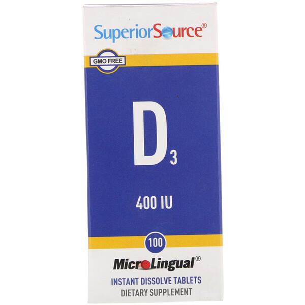 MicroLingual, Витамин D3, 400 IU, 100 таблеток