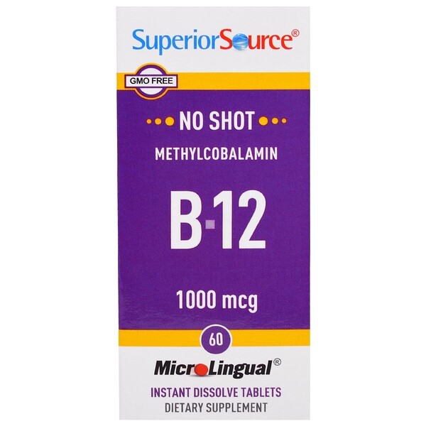 Superior Source, Метилкобаламин B-12, 1000мкг, 60быстрорастворимых таблеток MicroLingual