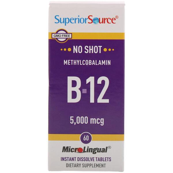 Superior Source, Метилкобаламин B12, 5000 мкг, 60 быстрорастворимых таблеток MicroLingual
