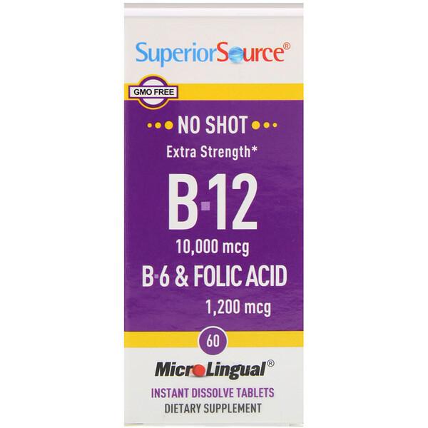 Superior Source, B-12, B-6 и фолиевая кислота повышенной силы действия, 10,000 мкг / 1,200 мкг, 60 микролингвальных быстрорастворимых таблеток