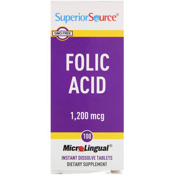 Superior Source, Folic Acid, 1,200 mcg, 100 Tablets