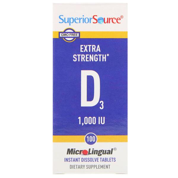 витаминD3 повышенной силы действия, 25мкг (1000МЕ), 100быстрорастворимых таблеток MicroLingual