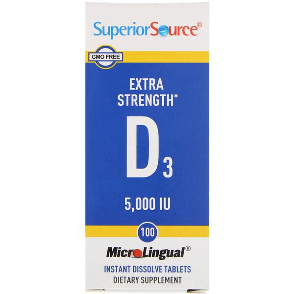 Витамин D3 Extra Strength, 5000 МЕ, 100 быстрорастворимых таблеток MicroLingual