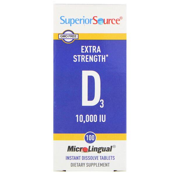 Витамин D3 Extra Strength, 10 000 МЕ, 100 быстрорастворимых таблеток MicroLingual