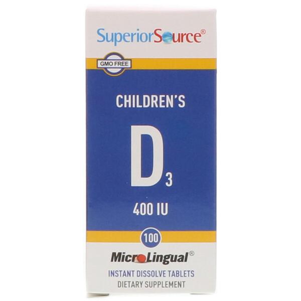 D3 для детей, 400 МЕ, 100 микролингвальных быстрорастворимых таблеток
