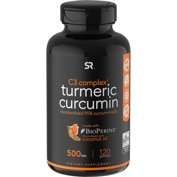 Sports Research, Куркумин из куркумы, C3 Complex, 500мг, 120мягких таблеток
