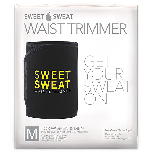 Sports Research, Триммер для талии Sweet Sweat, размер M, черный и желтый, 1 шт.