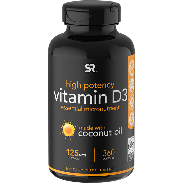ВитаминD3 с кокосовым маслом, 125мкг (5000МЕ), 360мягких желатиновых капсул