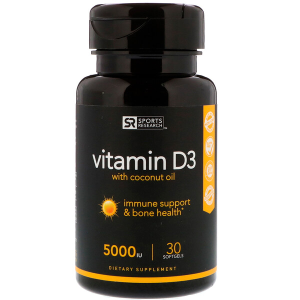Sports Research, ВитаминD3 с кокосовым маслом, 125мкг (5000МЕ), 30мягких таблеток