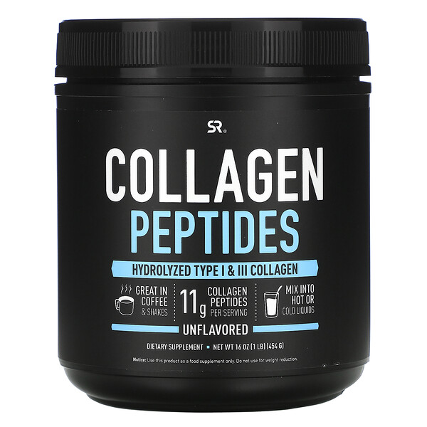 Sports Research, пептиды коллагена, без вкусовых добавок, 454г (16унций)