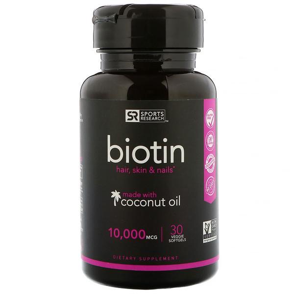 Sports Research, Биотин с кокосовым маслом, 10000мкг, 30растительных мягких таблеток