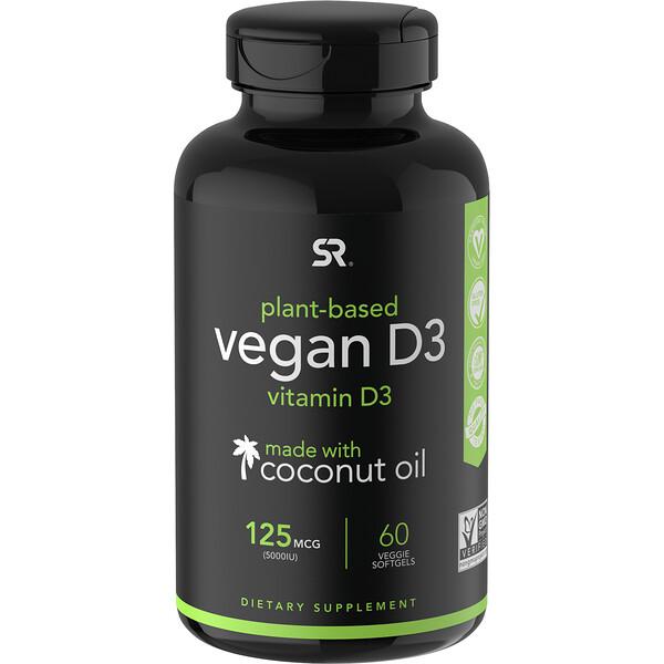 ВитаминD3 для веганов, 125мкг (5000 МЕ), 60растительных мягких таблеток