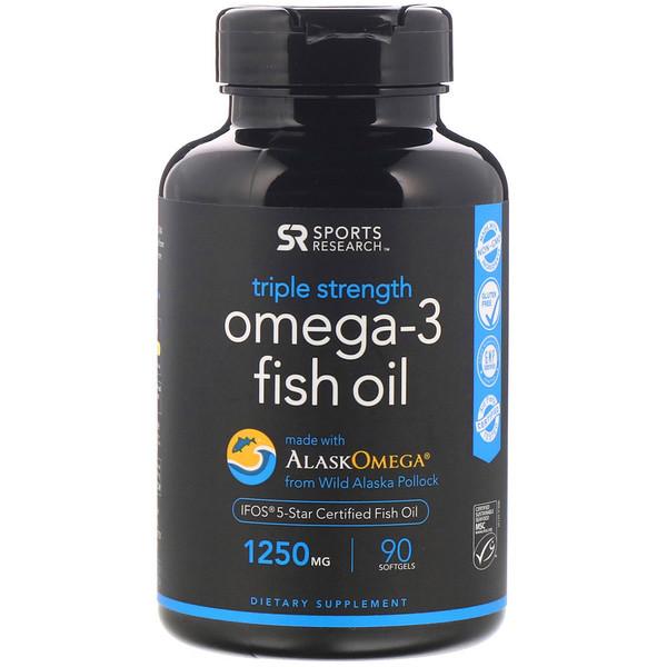 Sports Research, Рыбий жир с омега-3, тройная сила, 1250мг, 90мягких таблеток