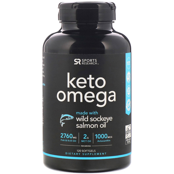 Keto Omega, кето омега с рыбьим жиром дикой красной нерки, 120мягких таблеток